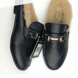 GUCCI LOOK Ellen Tracy Fur Lined Slipper Shoes